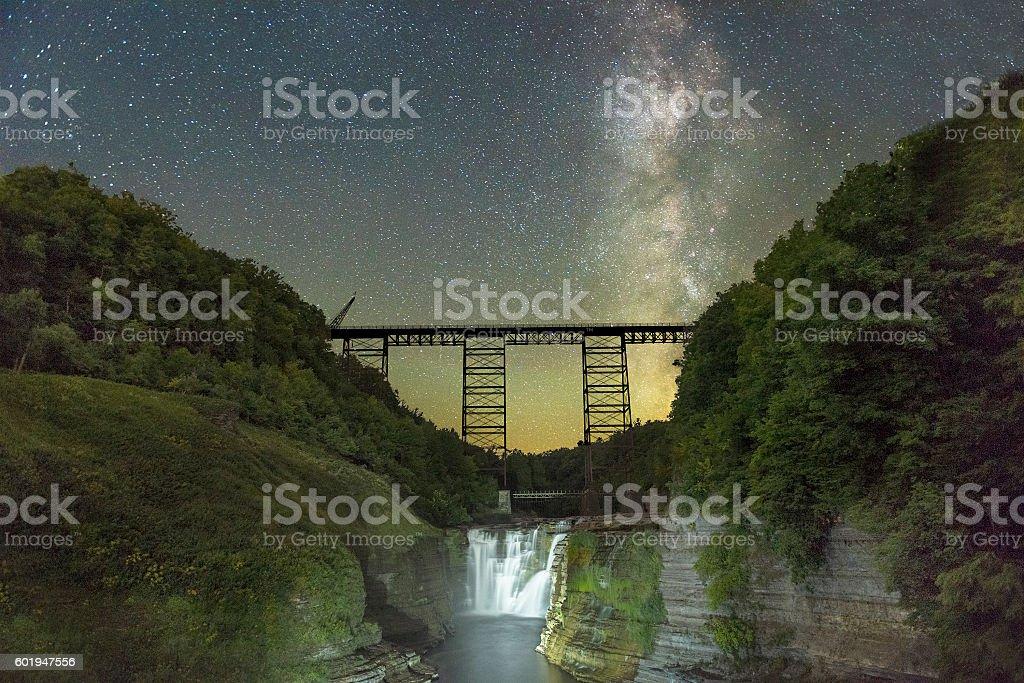 Milkyway Over The Railroad Trestle stock photo