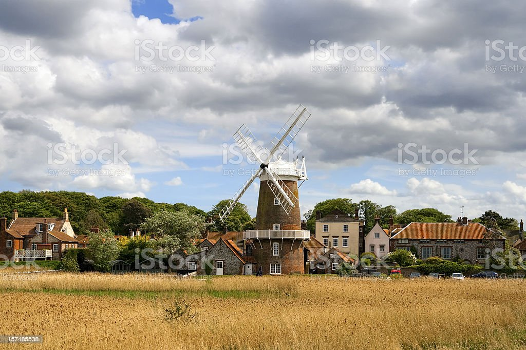 Mill and cottages at Cley next the Sea royalty-free stock photo