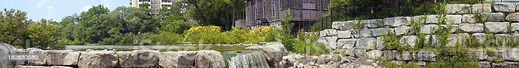 Mill and Waterfall Panoramic stock photo