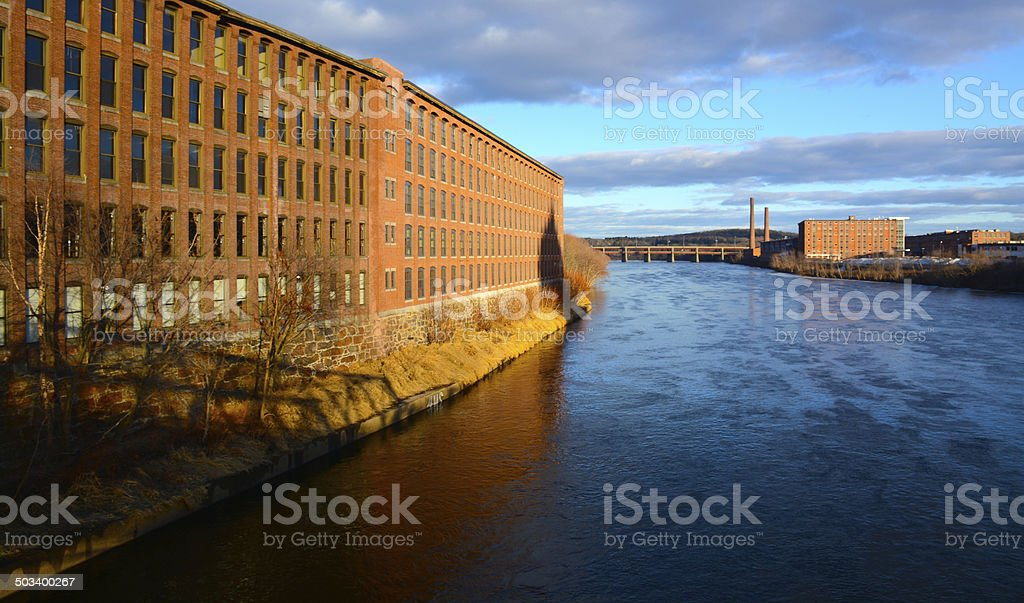Mill Buildings Lawrence stock photo