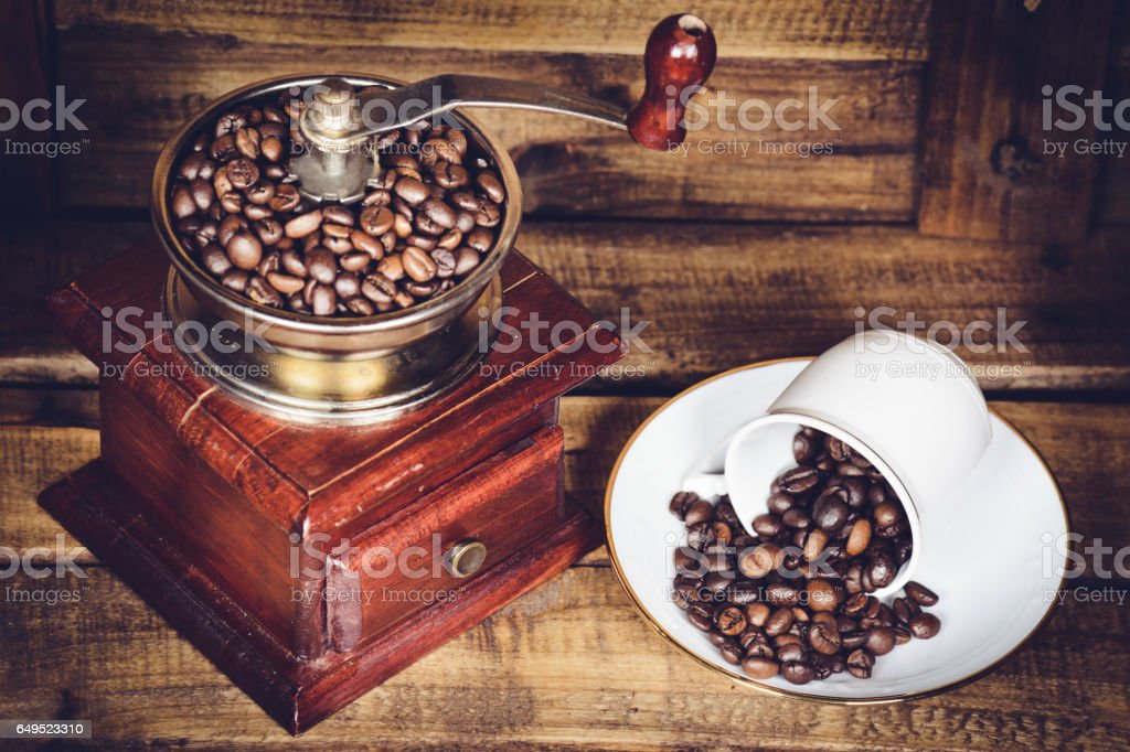 mill coffee and Cup with bean of coffee stock photo