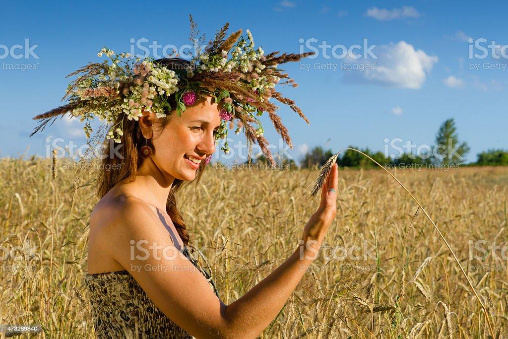 mill girl wreath stock photo