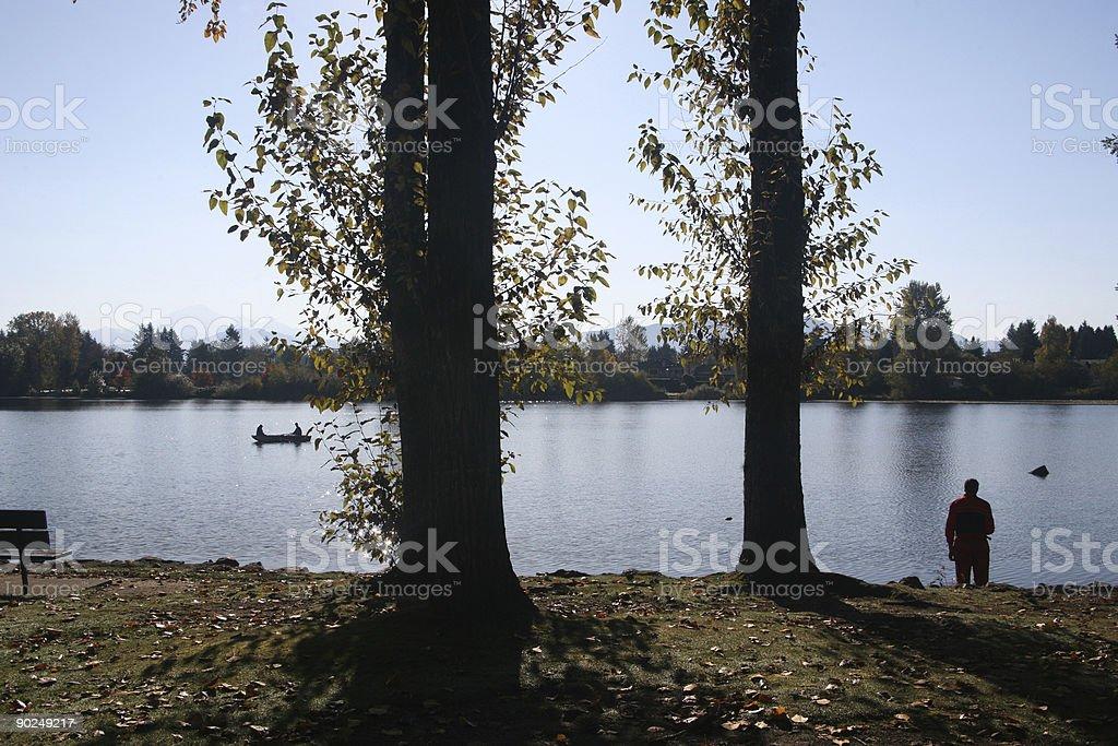 mill lake morning stock photo