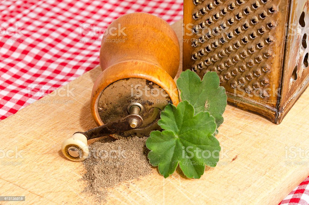 Mill peppercorn on wood royalty-free stock photo