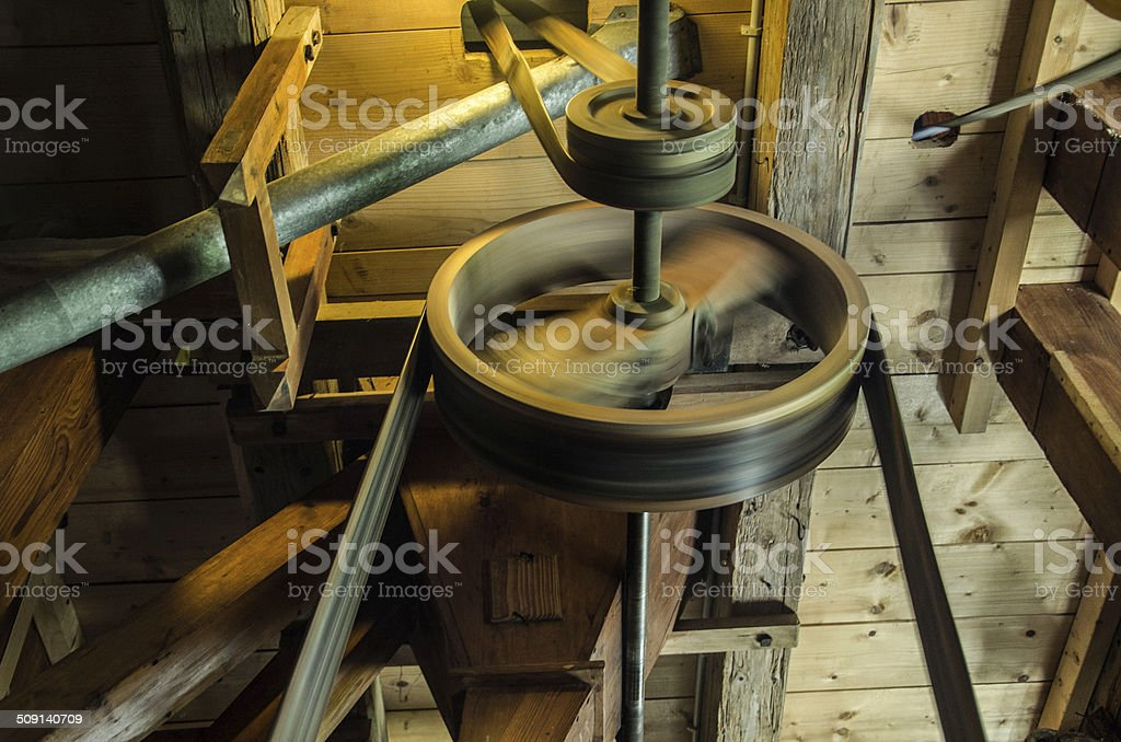 Mill pulleys stock photo