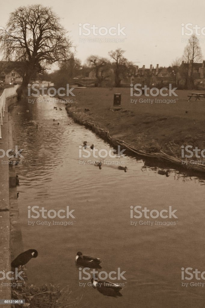 Mill stream in Stamford stock photo