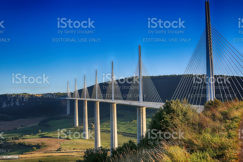 Millau Viaduct, Aveyron Deparement, France stock photo