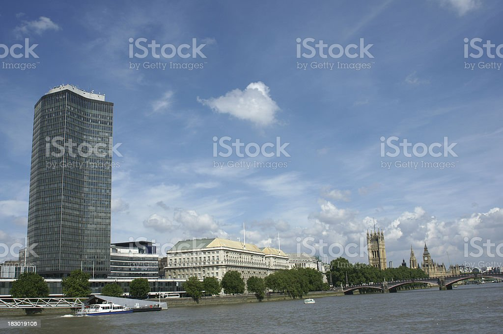 Millbank Tower, Westminster and the River thames, London stock photo