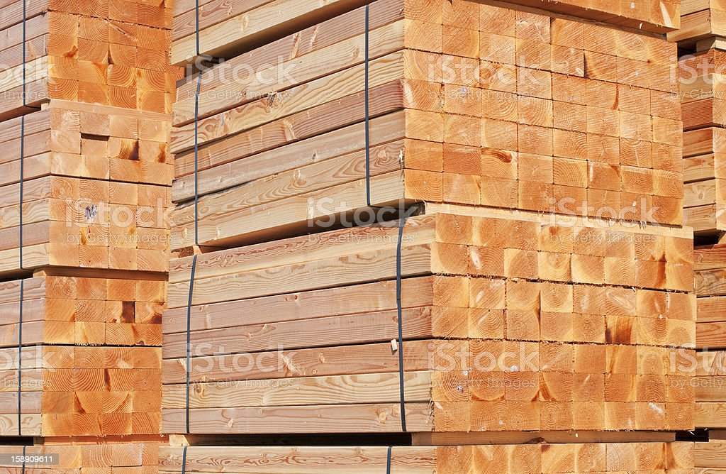 Milled and stacked redwood in lumber yard royalty-free stock photo