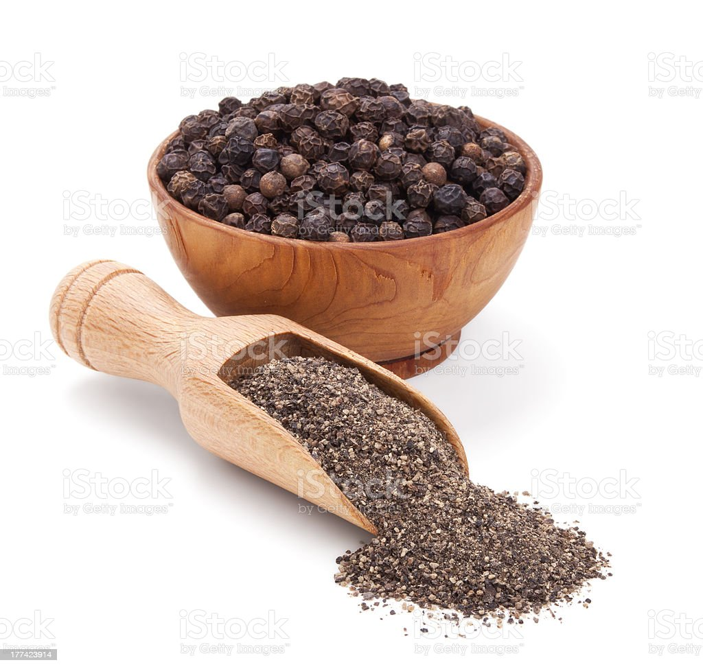 milled black pepper isolated on white stock photo