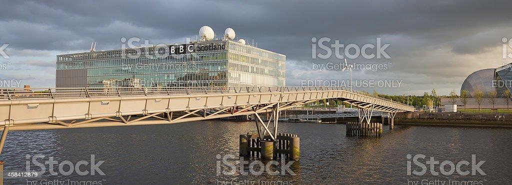 Millenium Bridge and BBC Scotland, River Clyde, Glasgow stock photo