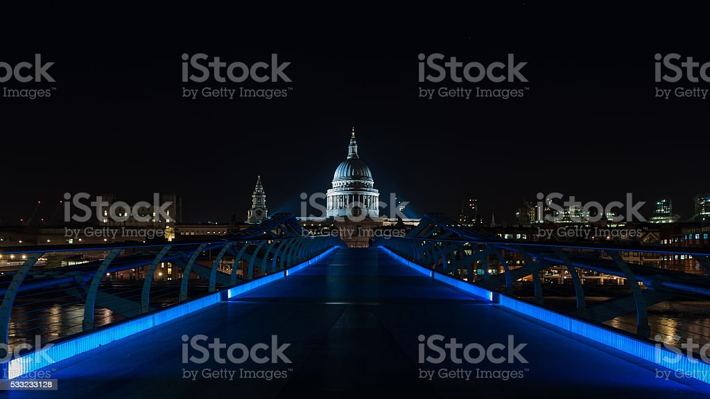 Millenium bridge and St Paul's Cathedral in London stock photo