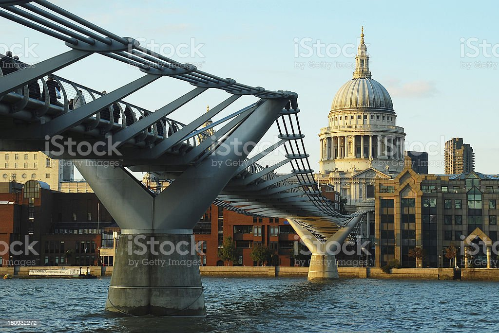 Millenium Bridge and St. Paul's Cathedral, London, UK royalty-free stock photo