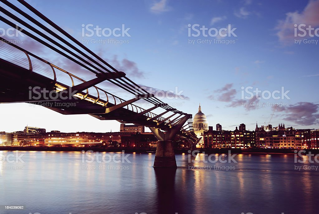 Millenium Bridge and St Paul's Cathedral royalty-free stock photo