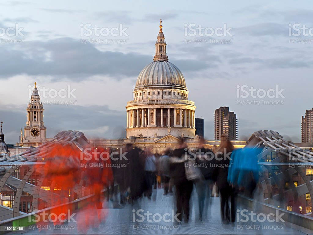 Millenium Bridge and St. Paul's Cathedral stock photo