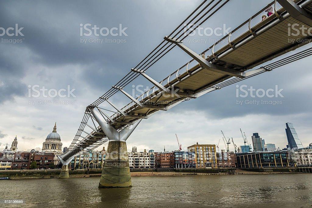 Millenium Bridge and St Paul's stock photo