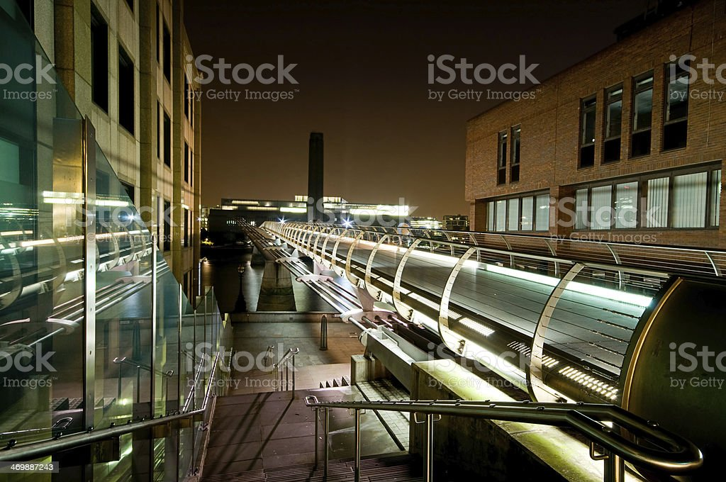 Millenium Bridge and Tate Gallery stock photo
