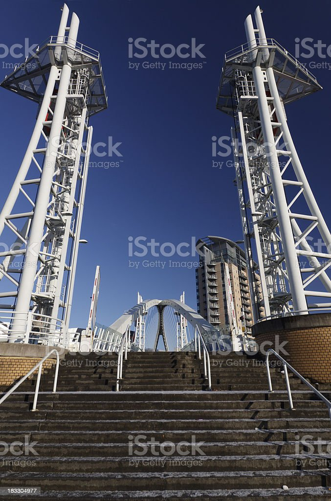 Millenium bridge at Salford Quays in Manchester, England royalty-free stock photo