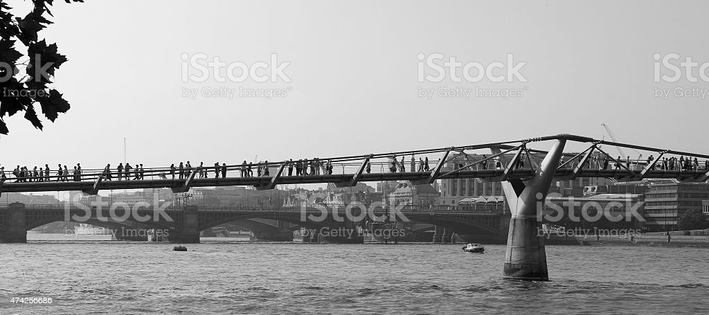 Millenium Bridge in black and white stock photo