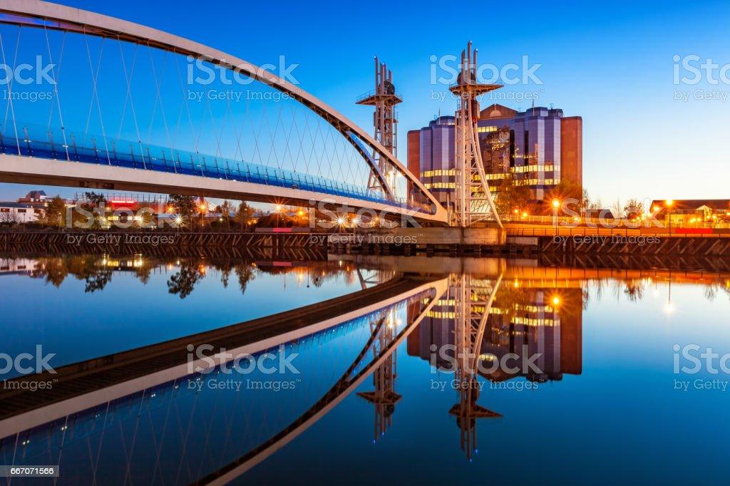 Millenium Bridge in Manchester England UK Millenium Bridge stock photo