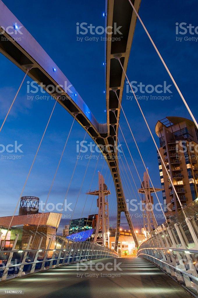 millenium bridge manchester stock photo