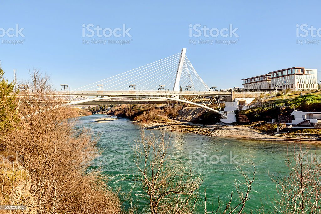 Millenium bridge over the river Moraca in Podgorica, Montenegro stock photo