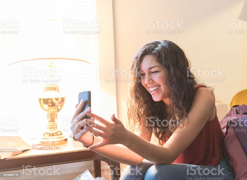 Millennial Woman On Mobile Phone Video Call  Communication Technology USA stock photo