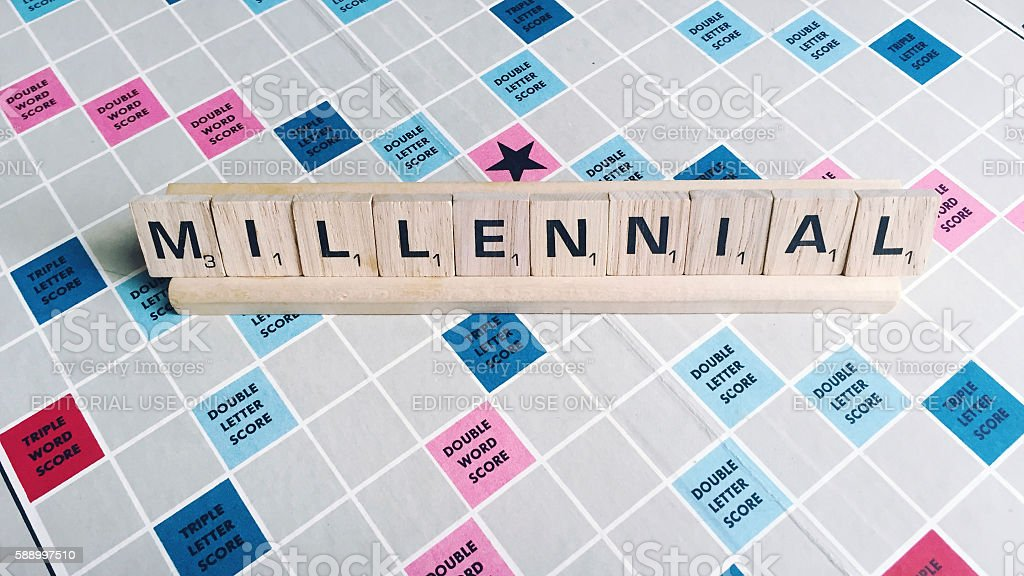 Millennial Word Spelled with Scrabble Tile Letters stock photo