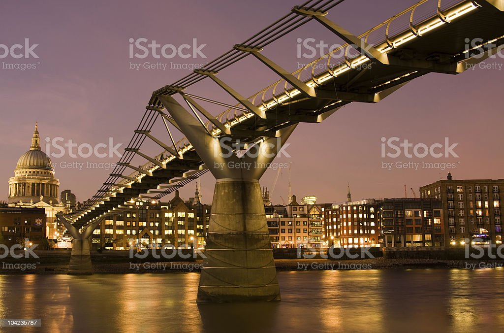 Millennium Bridge and St. Paul's Cathedral, London royalty-free stock photo