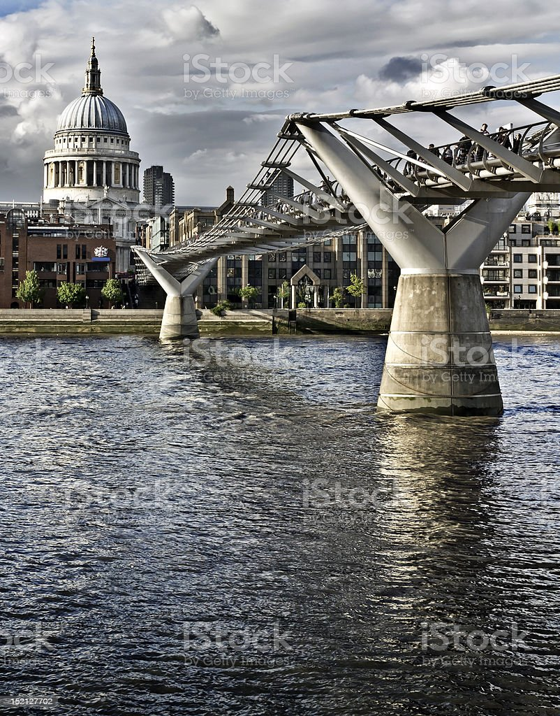 Millennium bridge and St. Paul's cathedral royalty-free stock photo