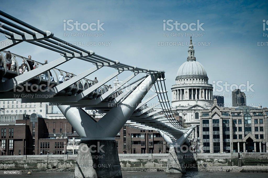 Millennium Bridge and St Paul's stock photo