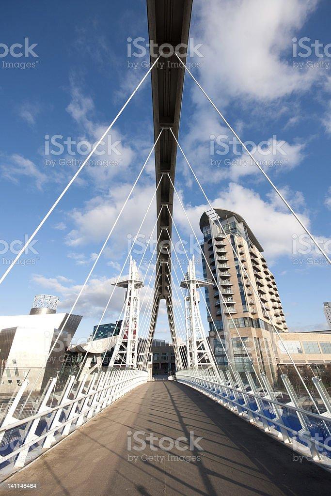 Millennium Bridge at Salford Quays near Manchester stock photo