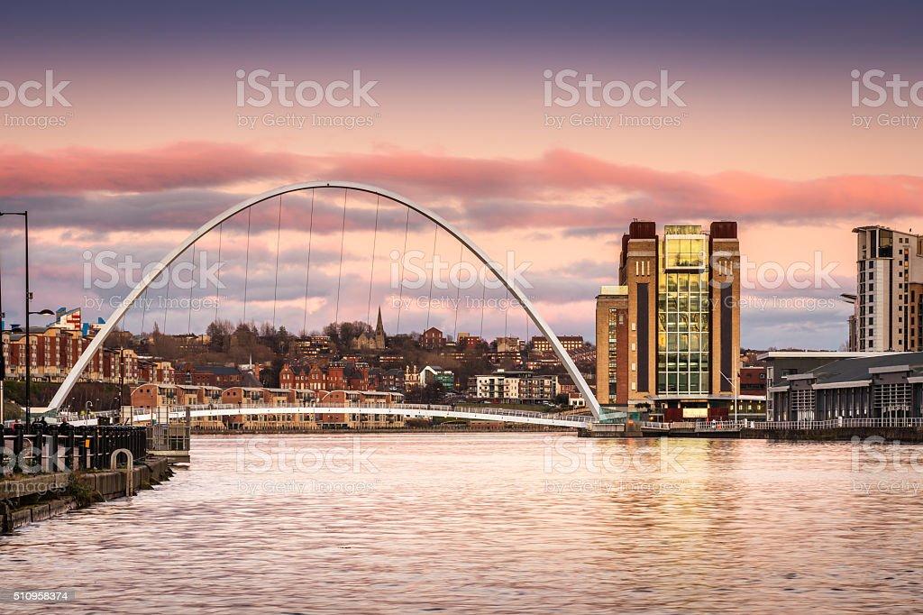 Millennium Bridge at sunset stock photo