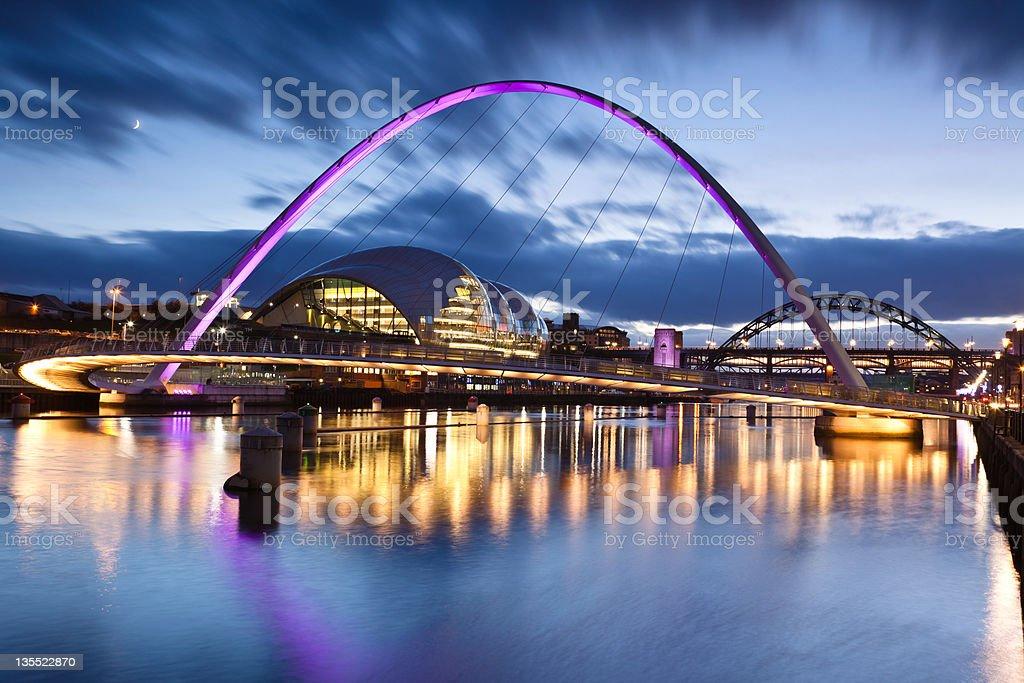 Millennium Bridge in Gateshead stock photo
