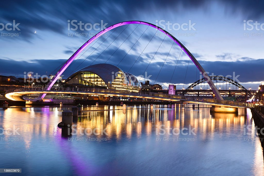 Millennium Bridge in Gateshead stock photo