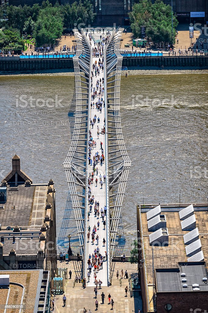 Millennium bridge in London stock photo