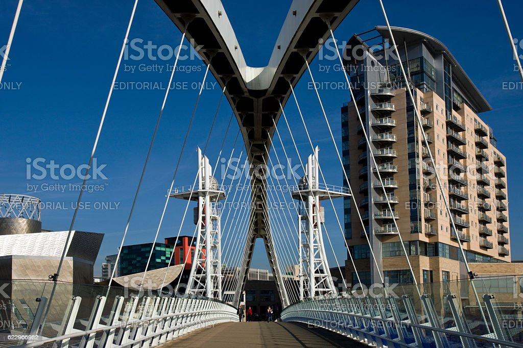 Millennium Bridge & Lowry Centre - Manchester - England stock photo