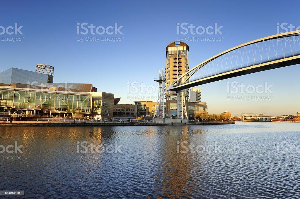 Millennium Bridge Raised, Salford Quays, Manchester stock photo