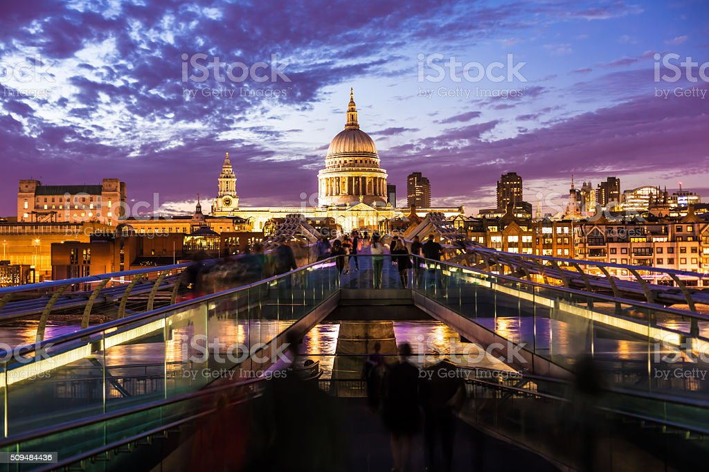 Millennium Bridge, Saint Paul's Cathedral London at night stock photo