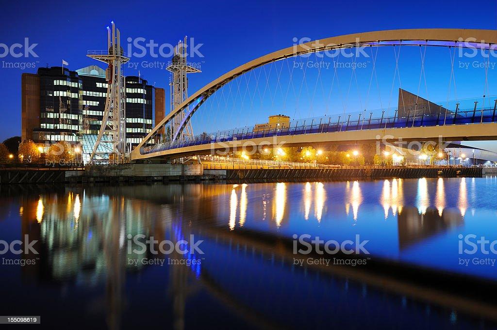 Millennium Bridge, Salford Quays, Manchester stock photo