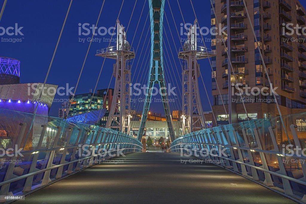 Millennium Bridge, Salford Quays, Manchester. stock photo