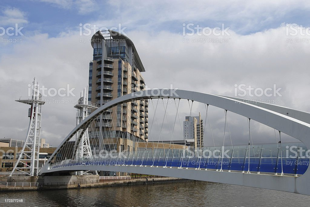 Millennium Bridge, Salford Quays royalty-free stock photo