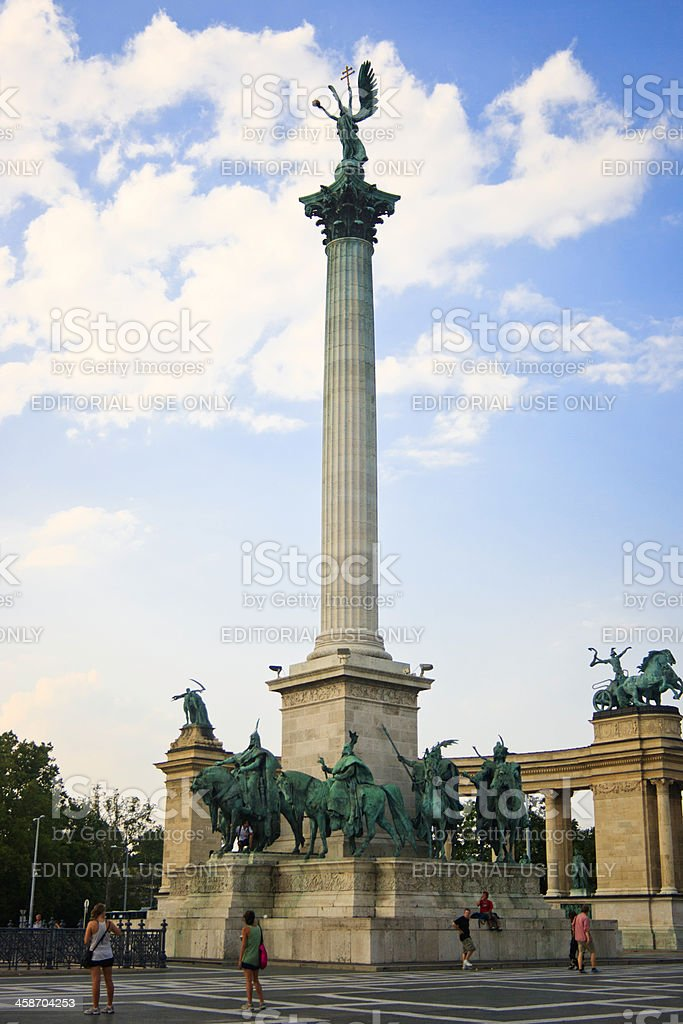 Millennium Memorial in the centre of Heroes Square stock photo