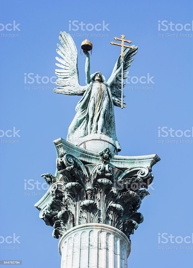 Millennium monument in Heroes square, Budapest, Hungary stock photo