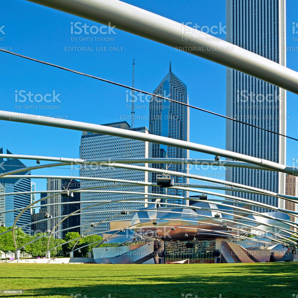 Millennium Park and Chicago Downtown stock photo
