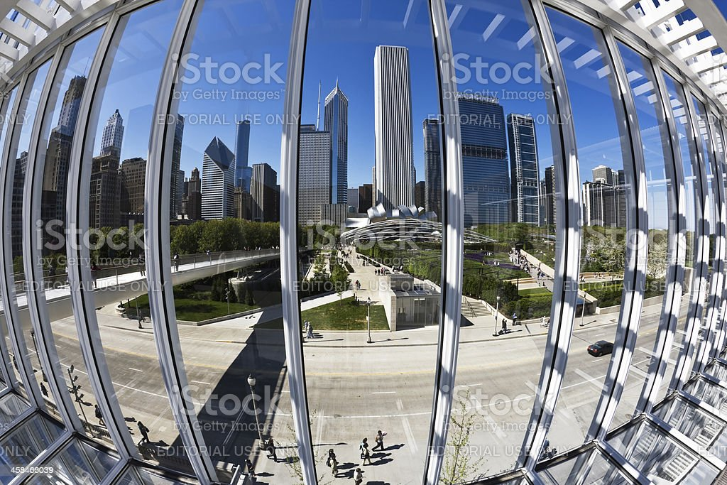 Millennium Park and Chicago Skyscrapers viewed through Window royalty-free stock photo