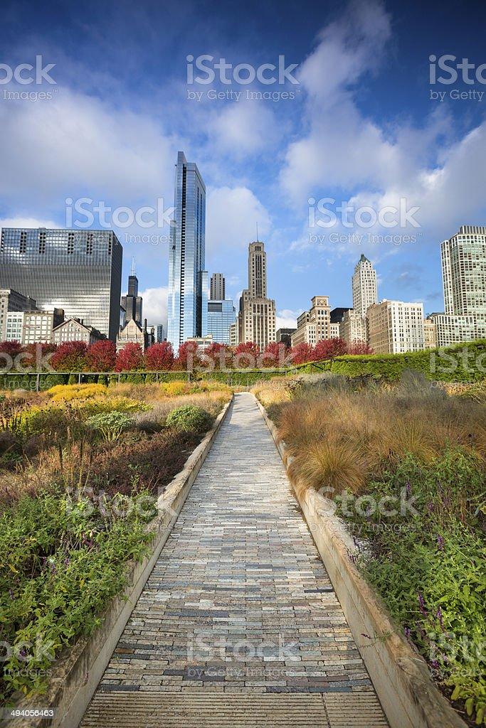 Millennium Park walkway Chicago stock photo