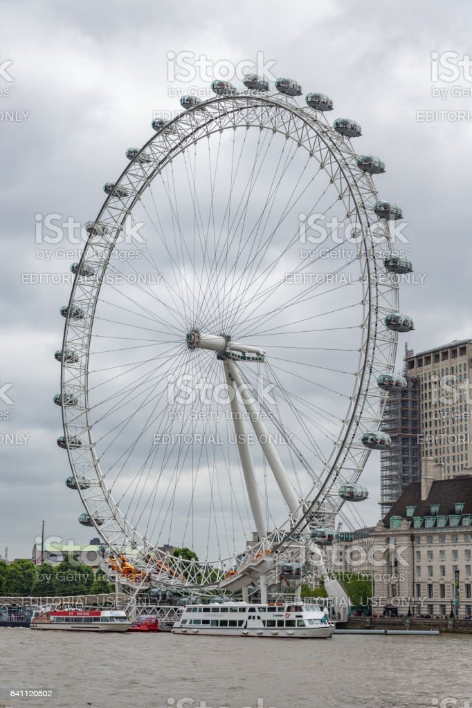 Millennium Wheel at South Bank of river Thames in London stock photo