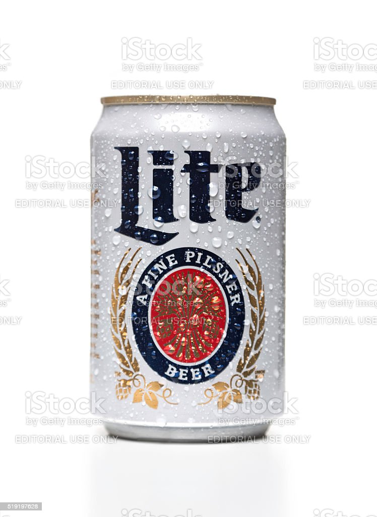 Miller Lite can with water drops stock photo