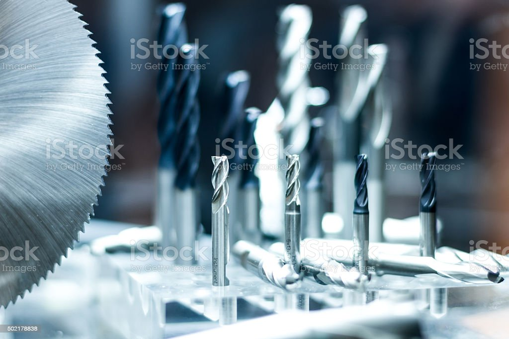Milling and drilling cutter tools stock photo